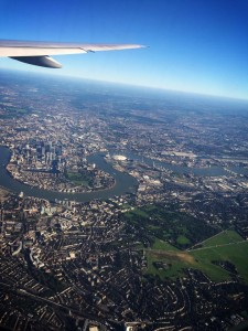 view over London from a plane
